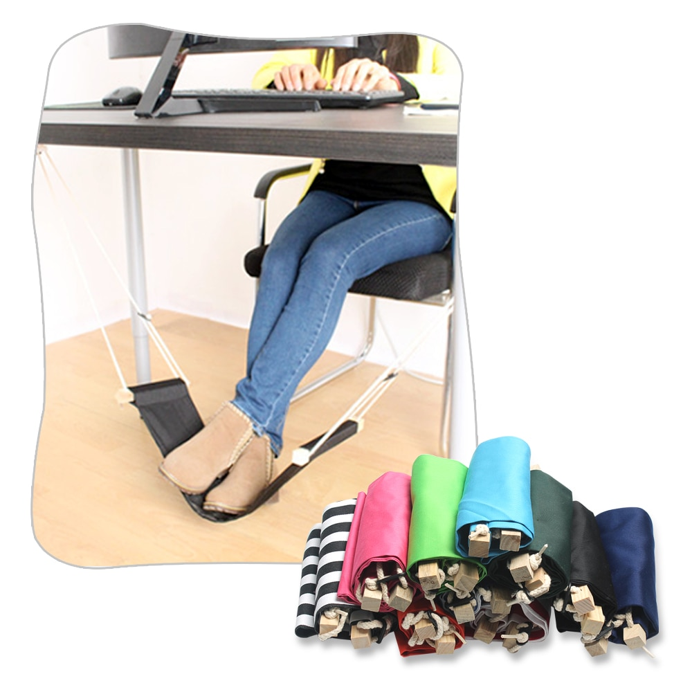 1pc portable novelty mini indoor outdoor household office desk foot rest stand adjustable desk chair feet hammock accessory Creative Desk Foot Hammock Feet Rest Mini Swing Footrest Chair Home Office Leisure Portable Relax Care Tool for Airplane Indoorl