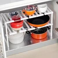 adorehouse under sink shelf expandable 2 tier kitchen cabinet organizer pot pan spice rack under sink organizer kitchen shelves
