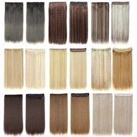 thick clip in hair extensions single one piece 5 clips on hairpiece synthetic straight for women heat resistant fiber 22 inch