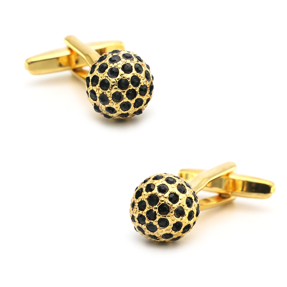Luxurious Cuff Links For Men Crystal Ball Design Quality Brass Material Golden Color Black Stone Cuf