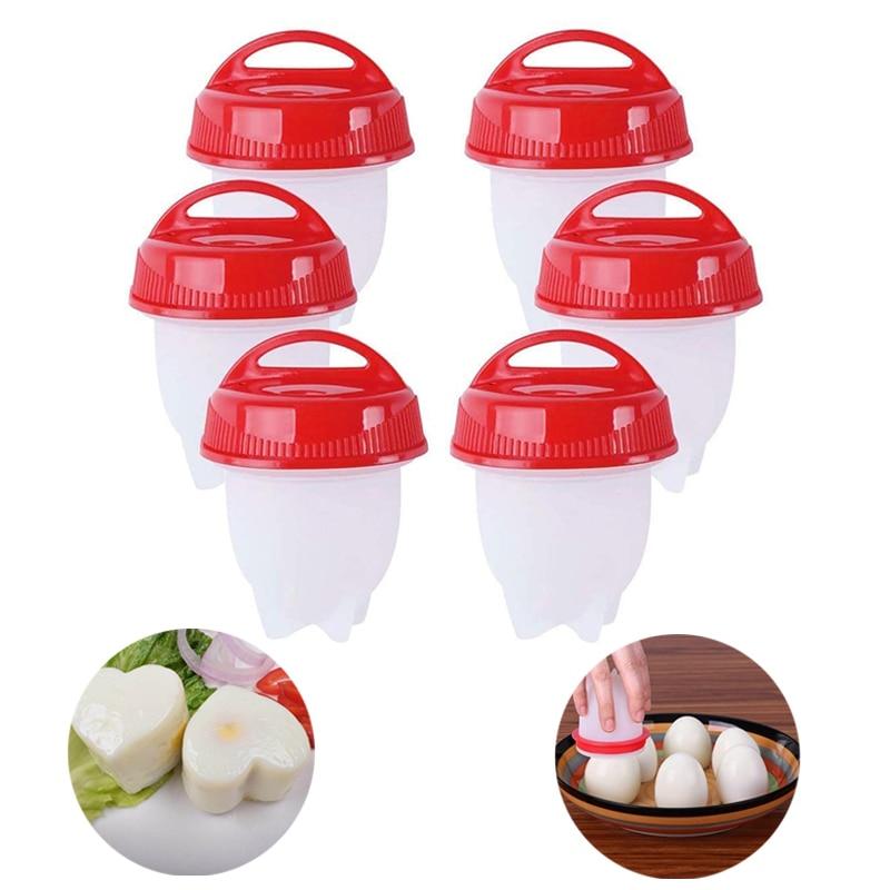 6 unids/set de huevo de silicona cazadores furtivos de huevos no-stick huevos...