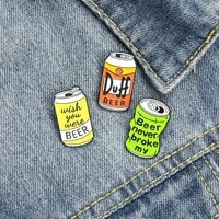 duff beer enamel pin brooch bag clothes lapel pin wish you were beer badge jewelry gift for fans friends