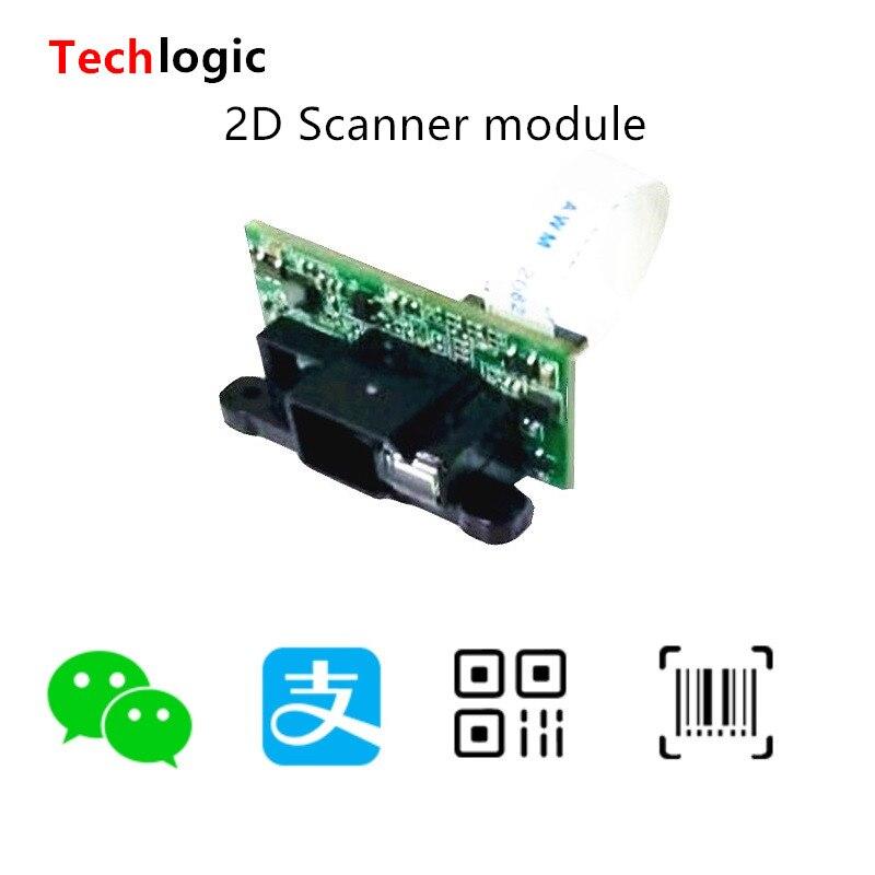 Techlogic 1D 2D Módulo de escáner integrado código de barras lector cabeza fija 2D código de barras motor de escaneo