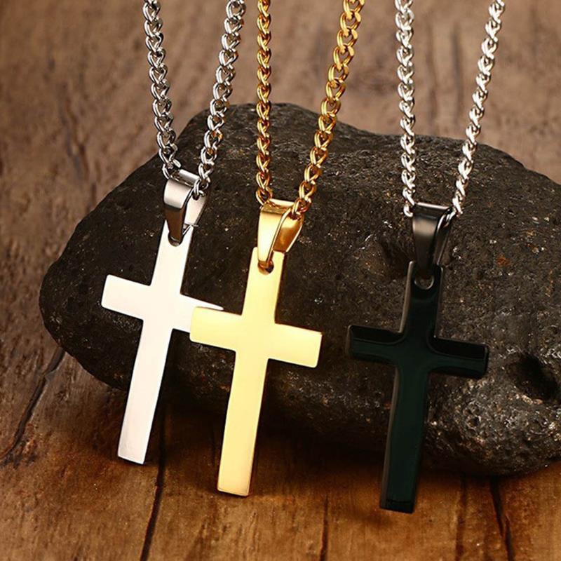 1PC New Cross Necklace Jewelry Chain Pendant Gift Stainless Steel Men Plated Alloy Unisex Fashion Hi