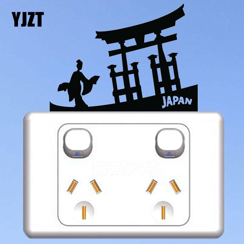 YJZT, Kimono abanico de chica japonesa en las manos, puerta a Asia, interruptor adhesivo, adhesivos de vinilo con dibujo para pared, decoración del hogar 8SS-2682