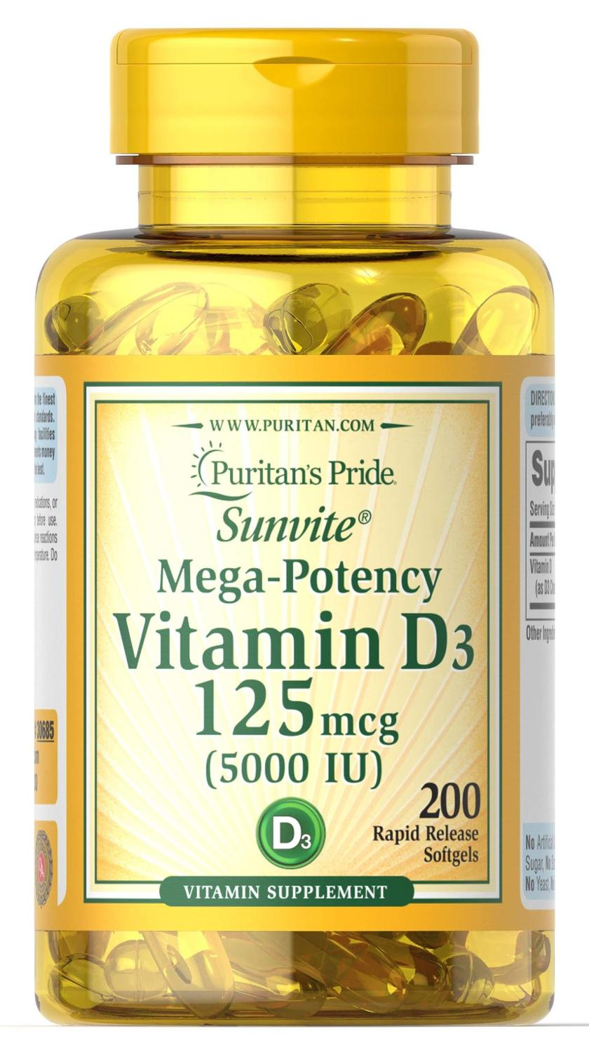 Pride Vitamin D3 5000 IU 200softgels Supports healthier and younger-looking skin Supports immune health&muscle and bone health