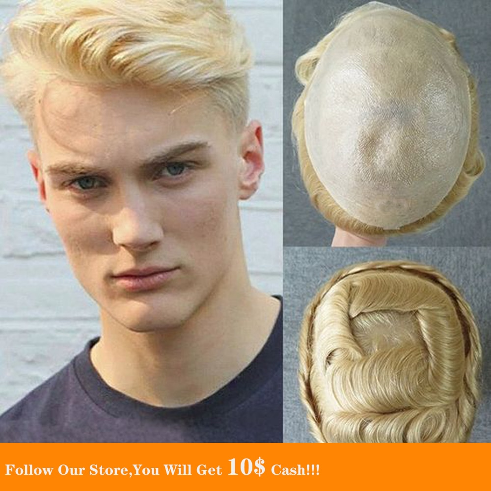 BYMC Full PU male Toupee , hair system For Men Moda Masculina Bleached and tiny Knot Hair Black & 613 Colors For Man replacement