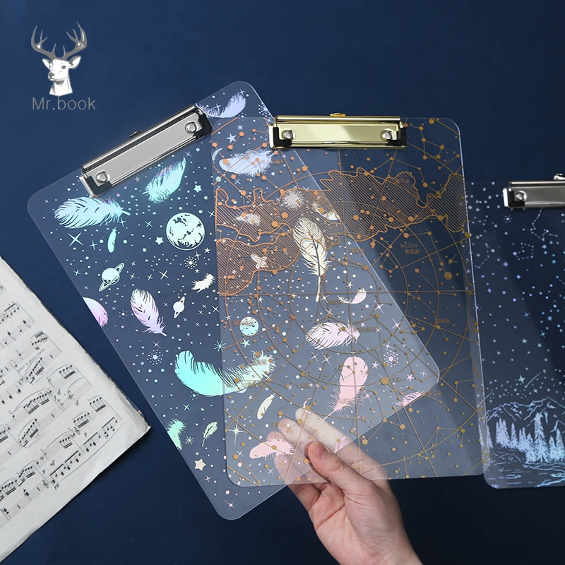 Laser Hot Stamping Starry Sky Document File Folder A4 Board Clip Student Stationery Plastic Writing Hard Board School Supplies 3pcs lot school stationery a4 folder cute fashion for student clip file 3 color information booklet school office stationery
