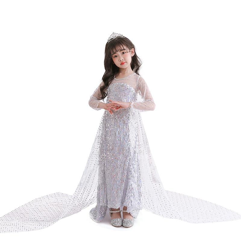 Kids Sequins Wedding Dresse Girl Performance Princess Elsa Cosplay Clothes Dress Up Christmas Carnival Girls White Elsa Costume
