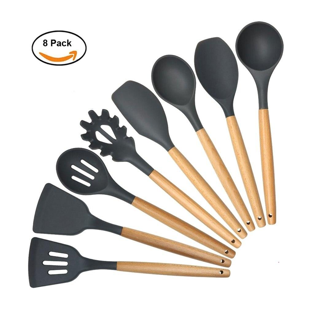 Mango de madera de silicona juego de cocina de 8 cuchara antiadherente Juego de Herramientas pala cuchara de sopa cuchara utensilios de cocina
