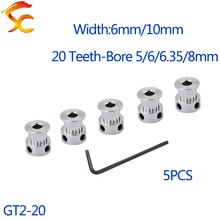 Poulie de synchronisation synchrone 2M   5 pièces GT 20 dents 2GT, alésage 4/5/6/6.35/8mm pour 2MGT GT2 largeur de la courroie synchrone 6/10mm, petit jeu 20 dents 20 T
