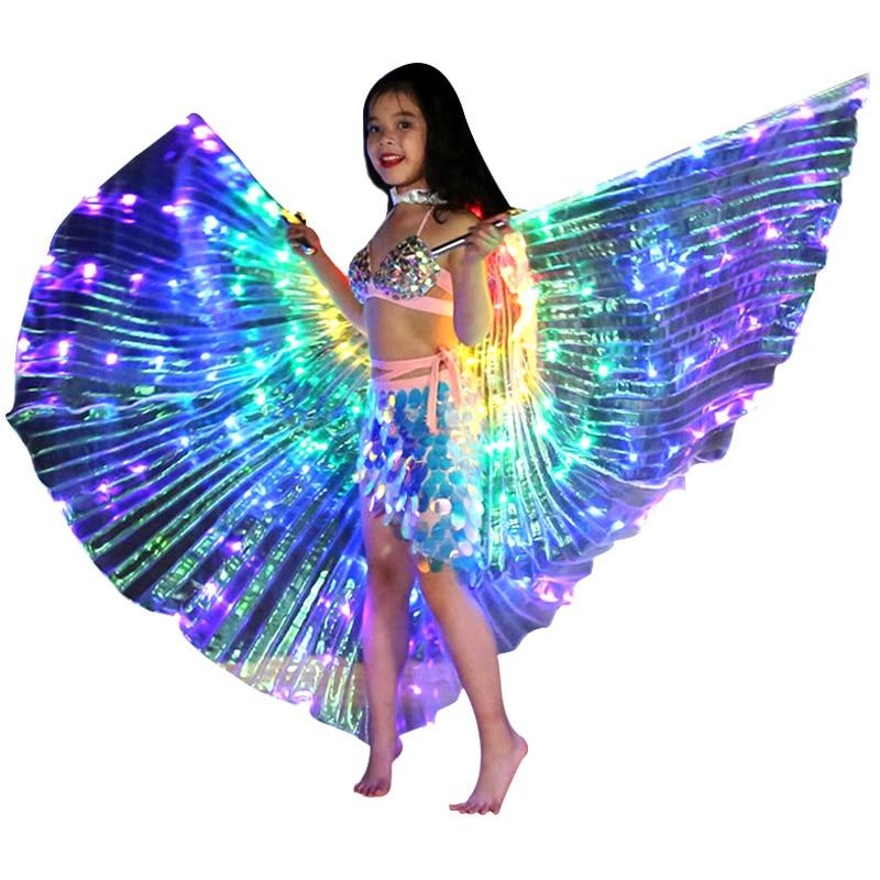 Niños bailarines abrigo LED rendimiento Mariposa luminosa ala danza del vientre accesorio de Carnaval LBShipping