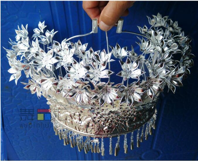 Miao prata chapéu dança folclórica chinesa miao prata cocar dança minoria