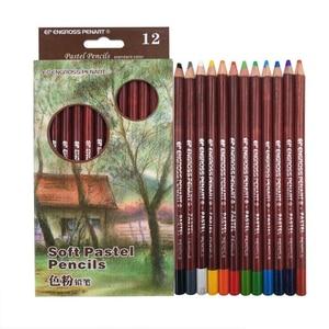 12 Professional Soft Pastel Pencils Sketch lapis de cor Pastel Colored Pencils For Drawing Art School Supplies
