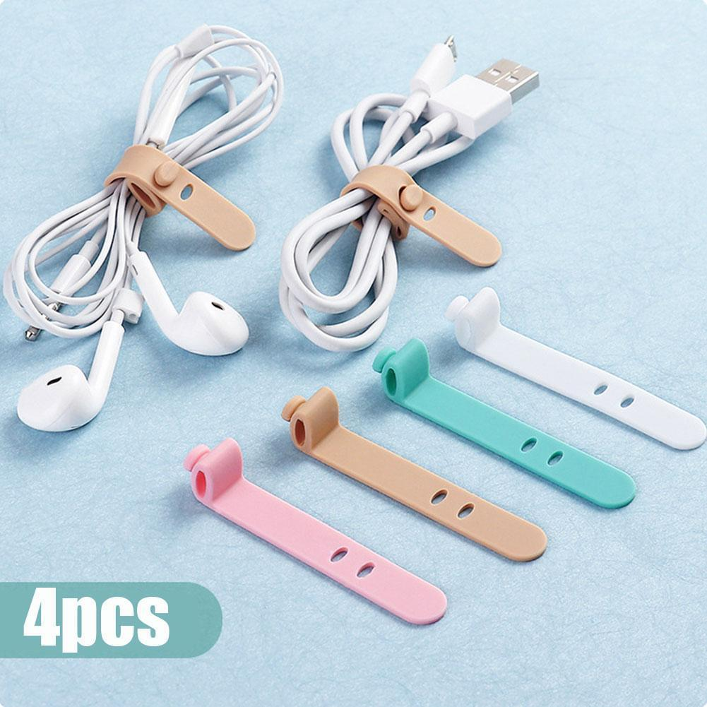 4pcs Silicone Cable Winder Color Cable Organizer Wire Wrapped Cord Earphone Storage Line Holder Desk Set Accessories