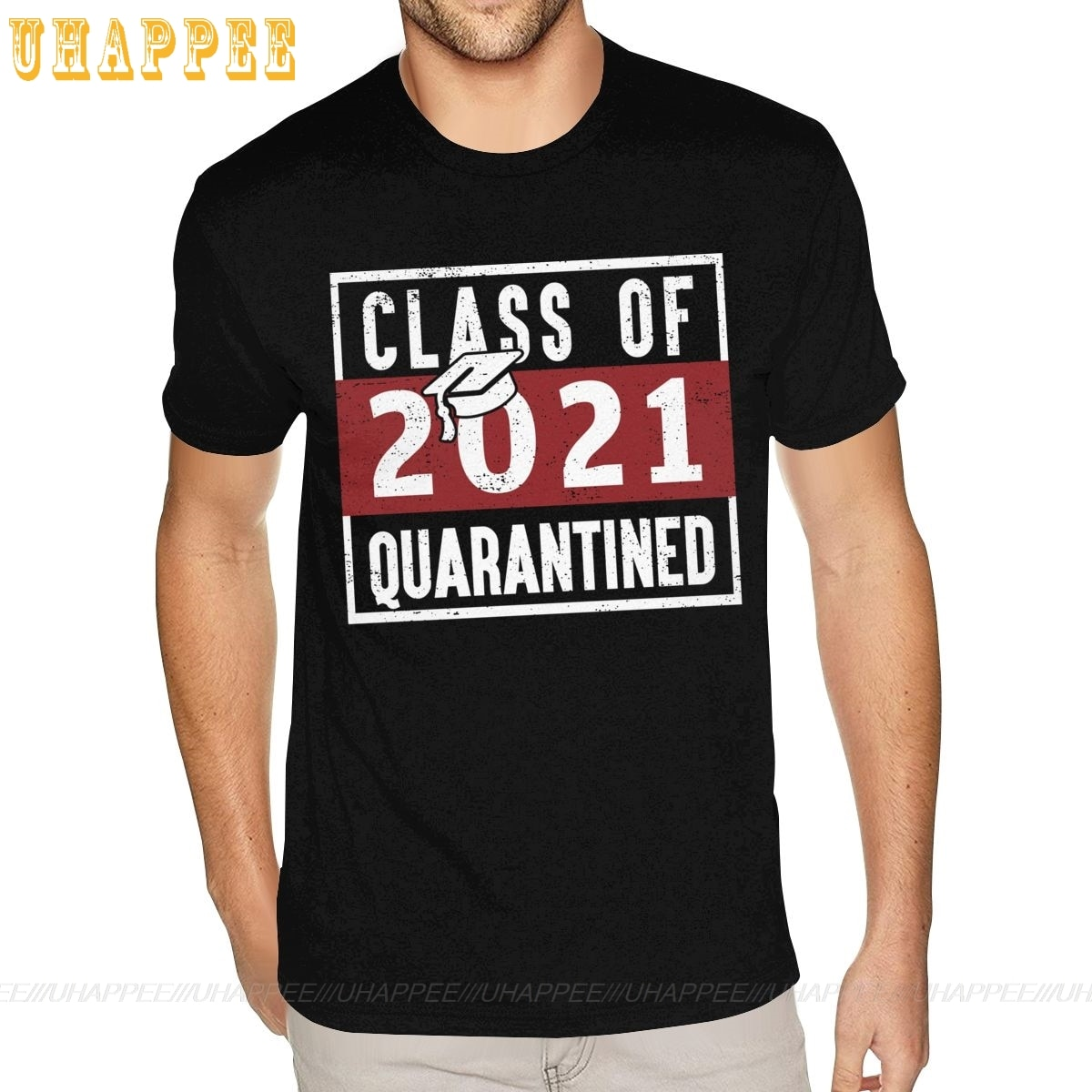 Printed Class Of 2021 Quarantined Tshirt White Short Sleeve Boys XXXL Black Tshirt