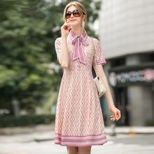2020 mode piste robe dété femmes manches courtes géométrique imprimé élégant fête taille haute dressee Vestdios