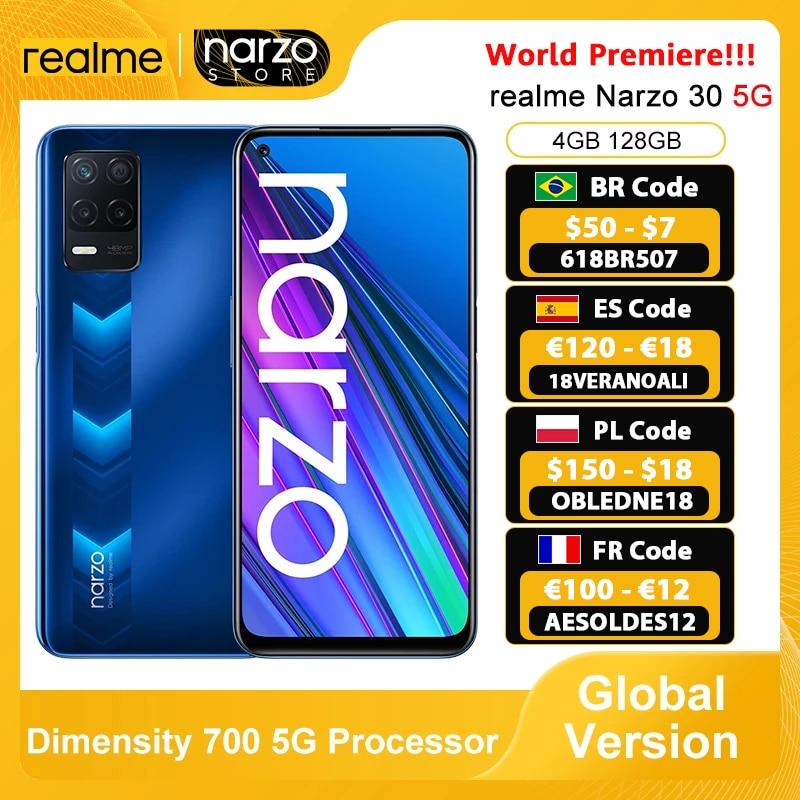 [Мировая премьера] realme Narzo 30 5G смартфон глобальная версия 4 Гб 128 Dimensity 700 5G 6,5 дюйм 90 Гц Дисплей 48MP Камера 5000 мА-ч