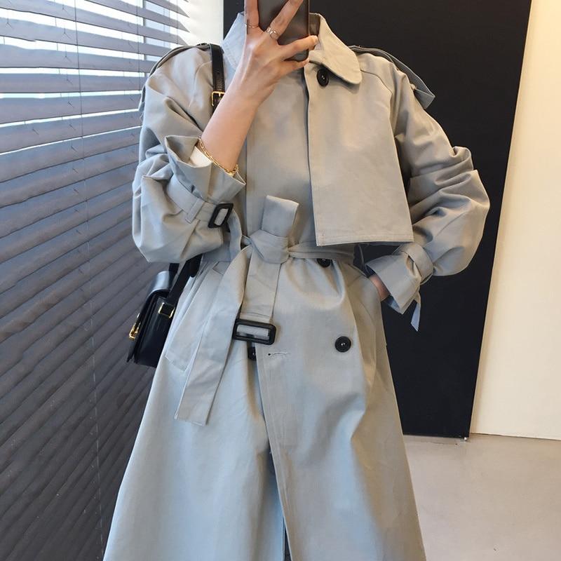 Korean Women Coat Windbreaker Chic British Style Lapel Double Row Buckle Lace Up Waist Loose Long Sl