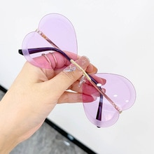 Fashion Butterfly Sunglasses Sexy Women Ocean Water Cut Trimmed LensMetal Curved Temples Frameless H