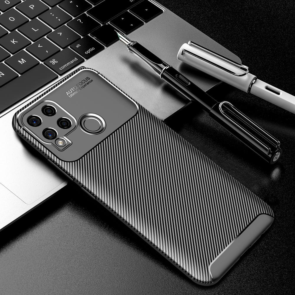 Case for Realme C15 Carbon Fiber Shockproof Soft TPU Armor Case for Realme C15 RMX2180 Couqe Fundas