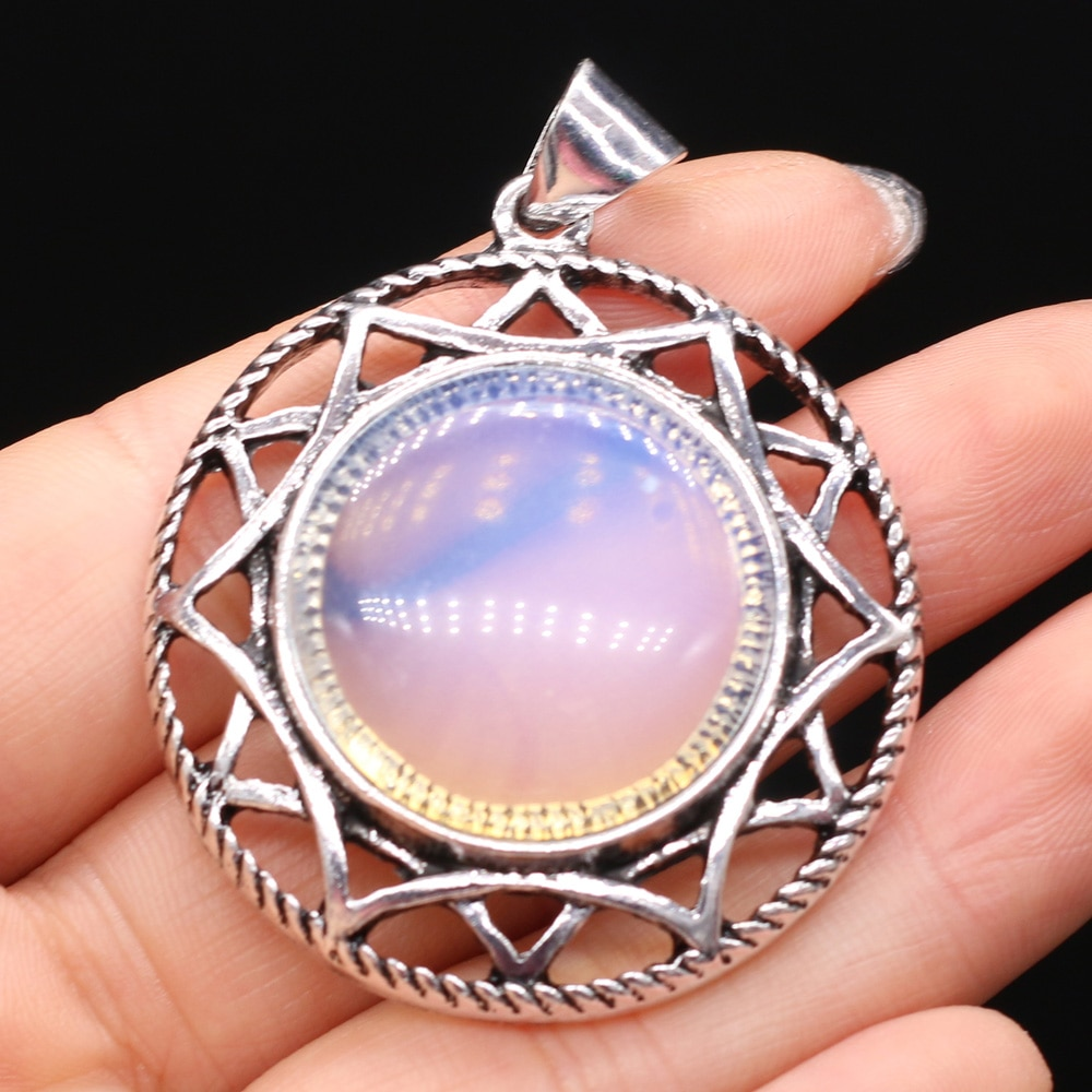 Style Natural Stone Alloy Pendant Lace Round Shaped Semi-Precious For Jewelry Making DIY Necklace Bracelet Accessory  - buy with discount
