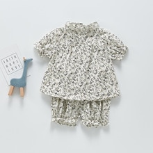 Yg Brand baby suit 2021 summer floral Short Sleeve Top Girls' Harbin baby casual style shorts two pi