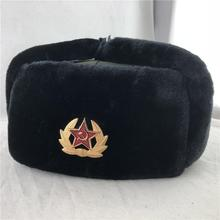 Soviet Army Military Badge Russia Ushanka Warm Hats Thick Earflap Hats Outdoor Men Women Caps Faux R