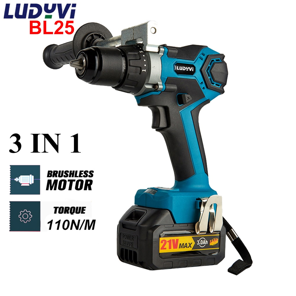 BL25 21V 13mm Cordless Impact Drill 110N/M 25+3 Torque  Brushless Electric Drill 4.0A Battery Power Tools Electric Screwdriver 3 in 1 13mm brushless electric hammer drill electric screwdriver 20 3 torque cordless impact drill for makita 18v battery