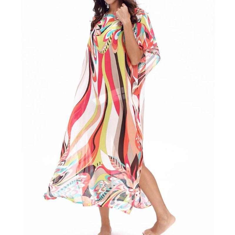 Mujer de verano de cuello redondo caftanes traje de baño cubrir rayas multicolor Floral estampado Kimono playa vestido de lado Split Maxi vestido largo