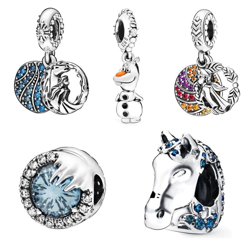 2019 invierno nuevas llegadas 925 perlas de plata esterlina Elsa Nokk Olaf encantos Ajuste Original Pandora pulsera mujeres DIY dijes joyería