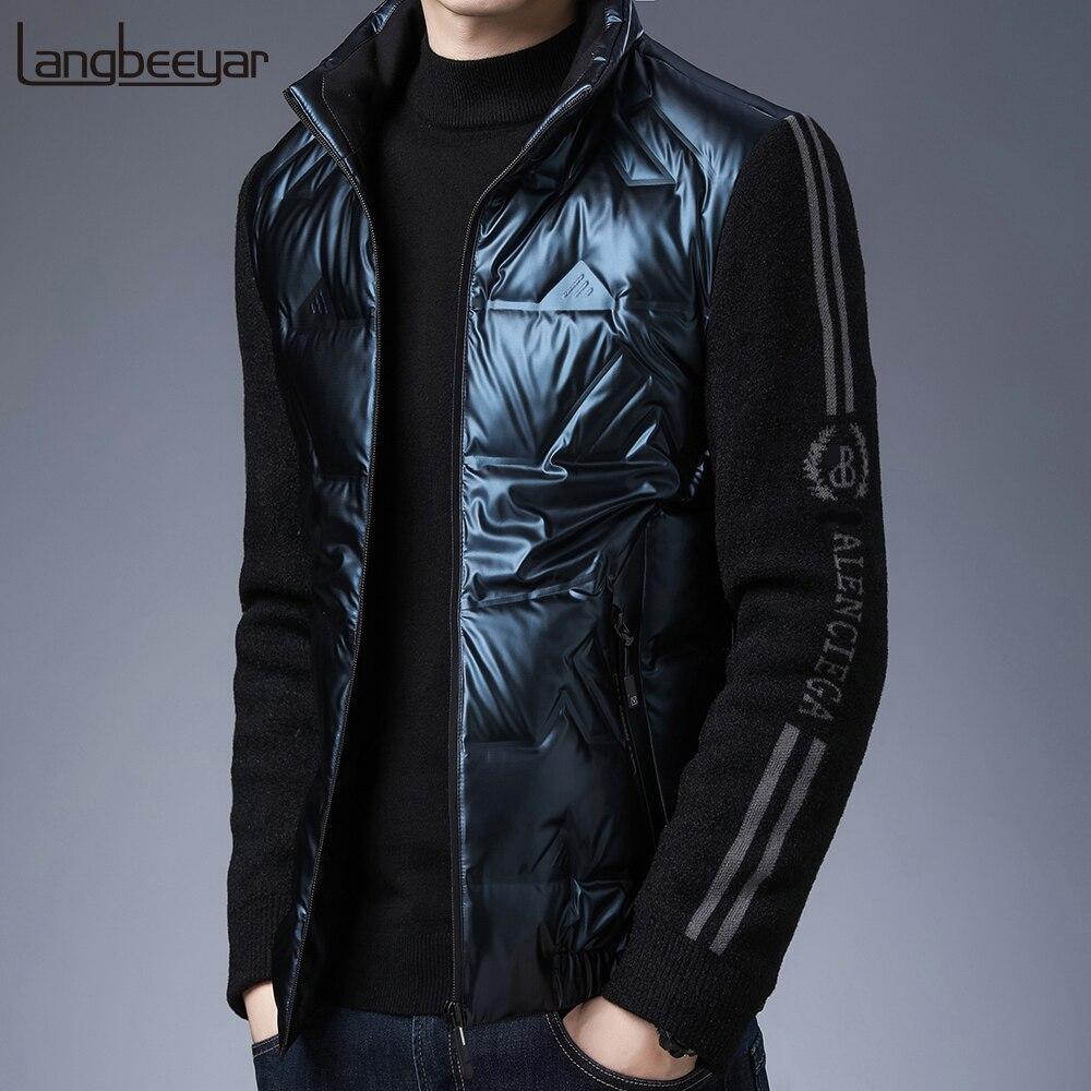 2021 Высший сорт новый бренд Повседневная модная блестящая пуховая роскошная мужская зимняя куртка ветровка уличная одежда пальто мужская о...