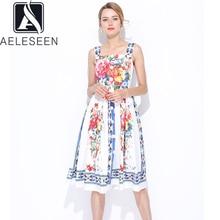 AELESEEN piste mode femmes robe été haute qualité Spaghetti sangle bouton Slash cou fleur impression fête robe de vacances