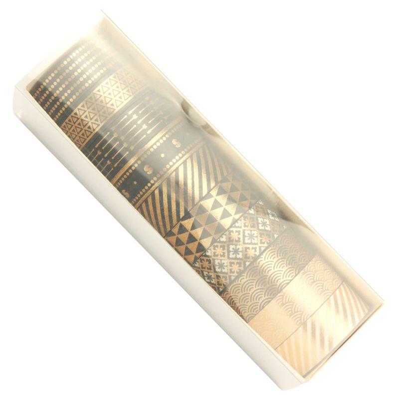 10Rolls/Set Black Gold Foil Washi Tape Set Paper Festival DIY Scrapbooking Adhesive Masking Tape Decorative Sticky Washi 32CA