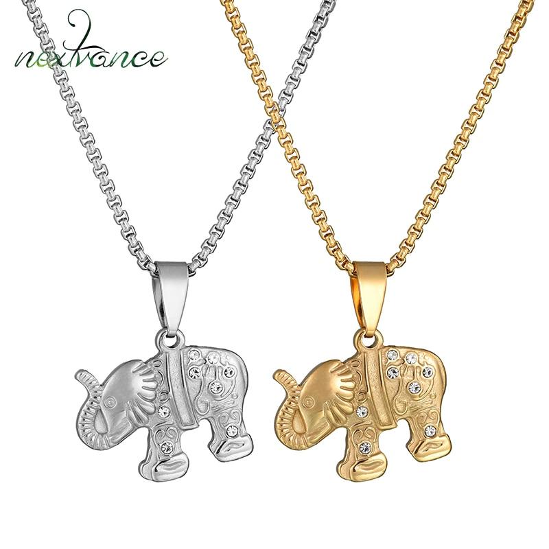 NextvanceCubic Zirconia elefante colgante collar oro plata Color acero inoxidable collares regalos de la suerte para hombres y mujeres