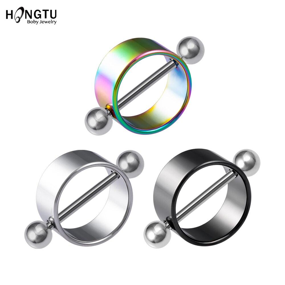 HONGTU, 1 par de anillos redondos coloridos para pezones, Piercing, anillo de barra, 14G, protectores sexis para pezones de acero inoxidable, cubierta Punk, joyería corporal para mujer