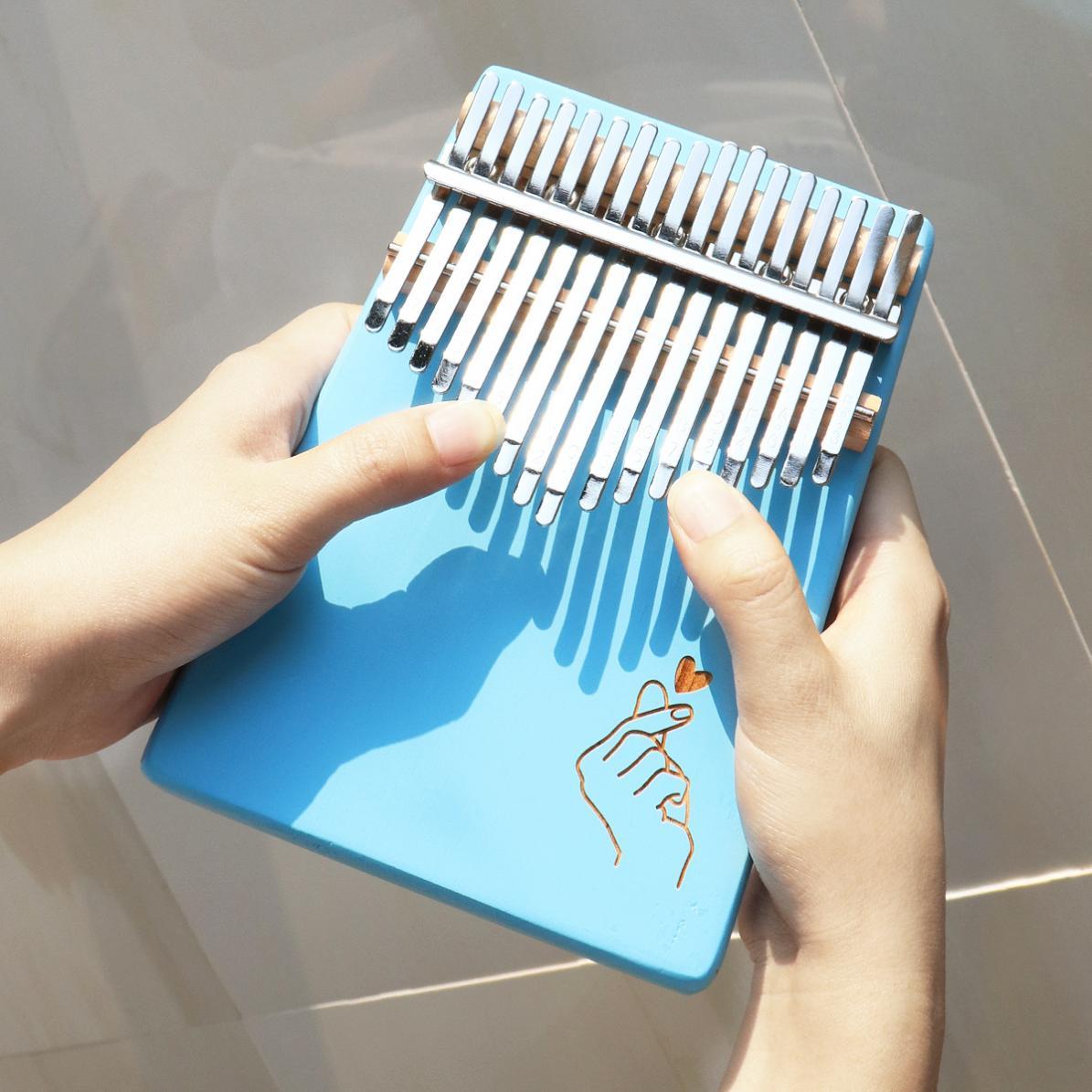 Thumb Piano 17 Keys Kalimba Blue Finger Heart Pattern Solid Single Board Pine Mbira Mini Keyboard Instrument enlarge