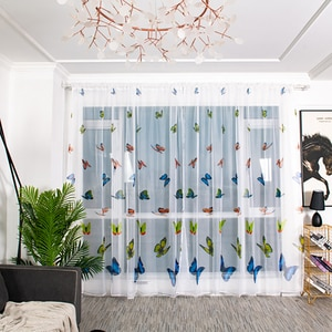 Butterfly Print Tulle Door Window Curtain Drape Panel Sheer Scarf Valances Drapes In Living Room Home Decor Sheer Voile Valances