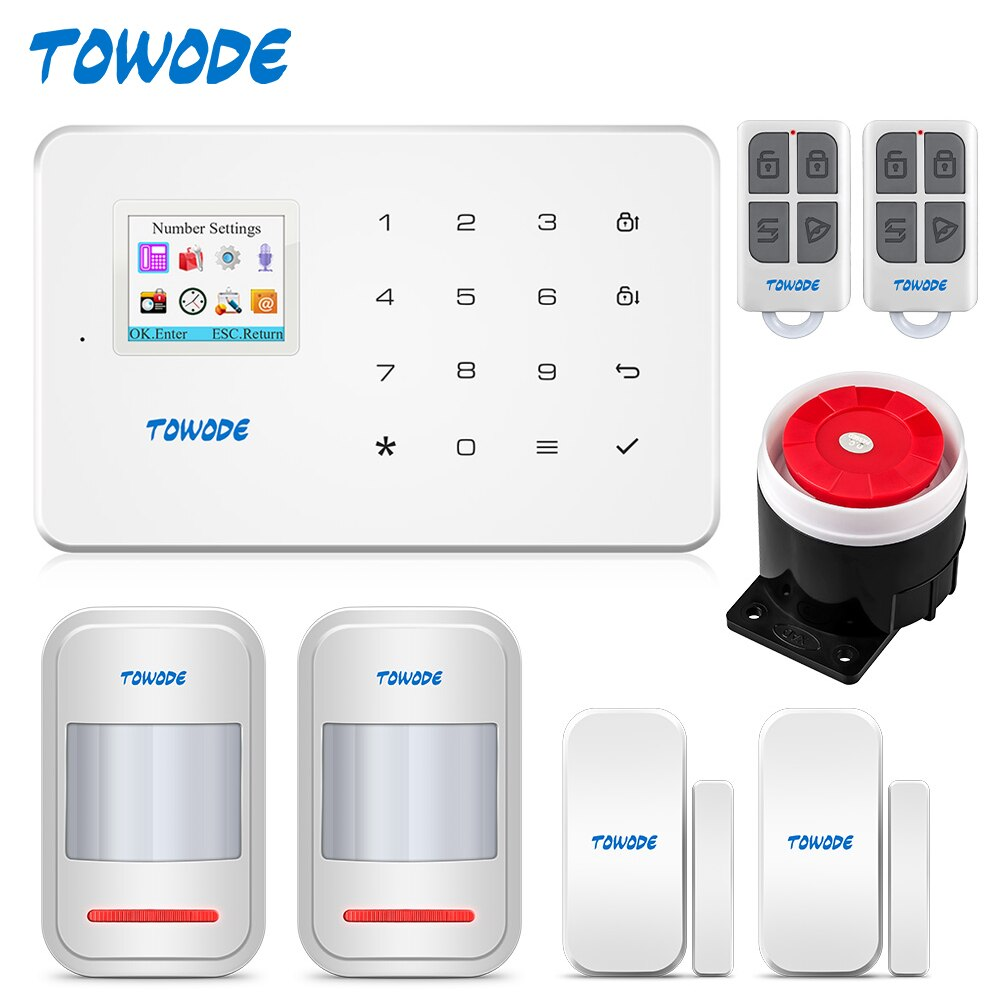 TOWODE G18 GSM Alarm System SIM IOS Android APP Control 1.7 Inch TFT Color Screen Touch Keyboard 433MHZ Home Security Alarm Kit