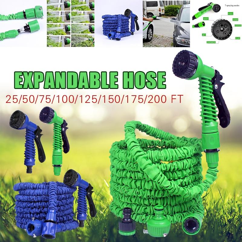 Manguera de jardín Flexible y extensible de 25 ft-250ft, manguera de agua, tubo de mangueras de plástico europeo con PISTOLA DE PULVERIZACIÓN para coche de riego, espray de lavado