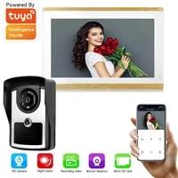 wiredwifi 1080p ahd 10 touch screen monitor video door phone intercom for home ir camera app unlock