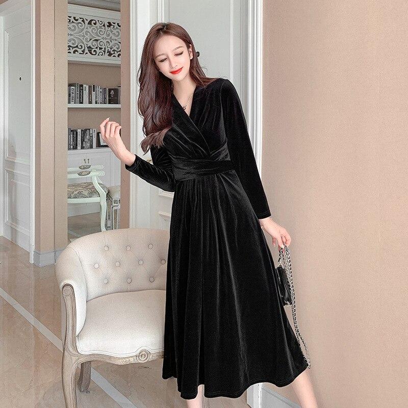 S-XL talla grande vestido de terciopelo negro mujer Solid Modis Streewear elegante vestido de invierno señoras con cuello en V corsé Casual vestido Vintage