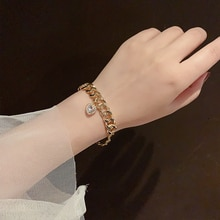 Simple Cold Style Love Pendant Chain Bracelet Ins Special-Interest Design Female Student Bestie Pers