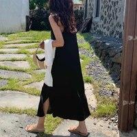 long women summer sexy v neck dress spaghetti strap vestidos straight split robe femme ete black sukienki sommerkleid jurk