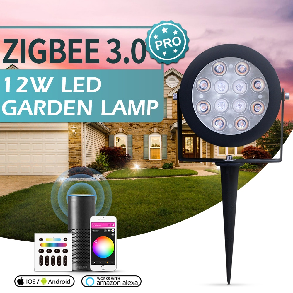 Zigbee 3.0 Smart LED Garden Lights 12W Outdoor Lamp IP65 Dimmable For Tuya Smart Life App RF Control Support Alexa Smartthings enlarge