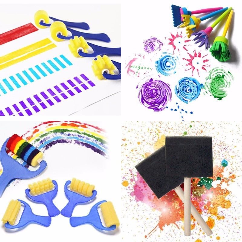 1/4Pcs DIY Flower Graffiti Sponge Art Supplies Brushes Seal Painting Tools Funny Drawing Toys Funny Creative Toy for Kids