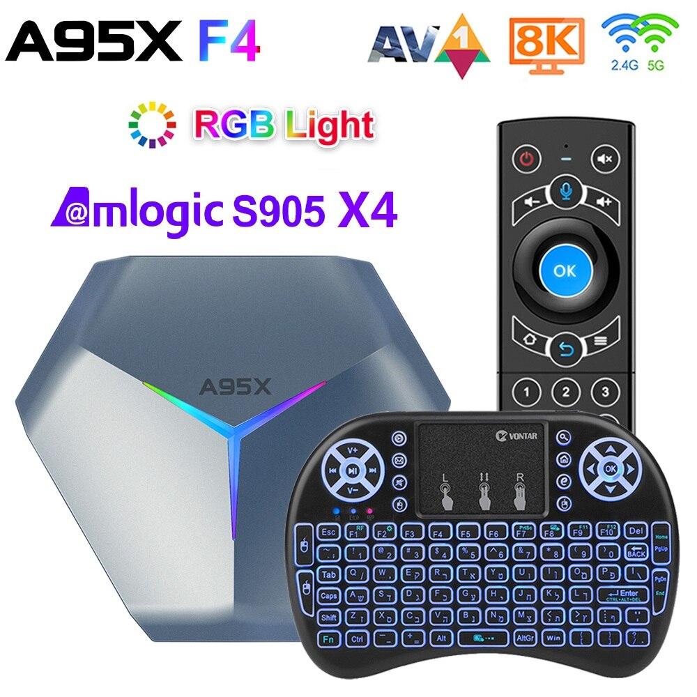 4GB 128GB Amlogic S905X4 RGB ضوء مربع التلفزيون الذكية أندرويد 10 4G 64GB ثنائي واي فاي 8K TVBOX مشغل الوسائط A95XF4 مجموعة صندوق