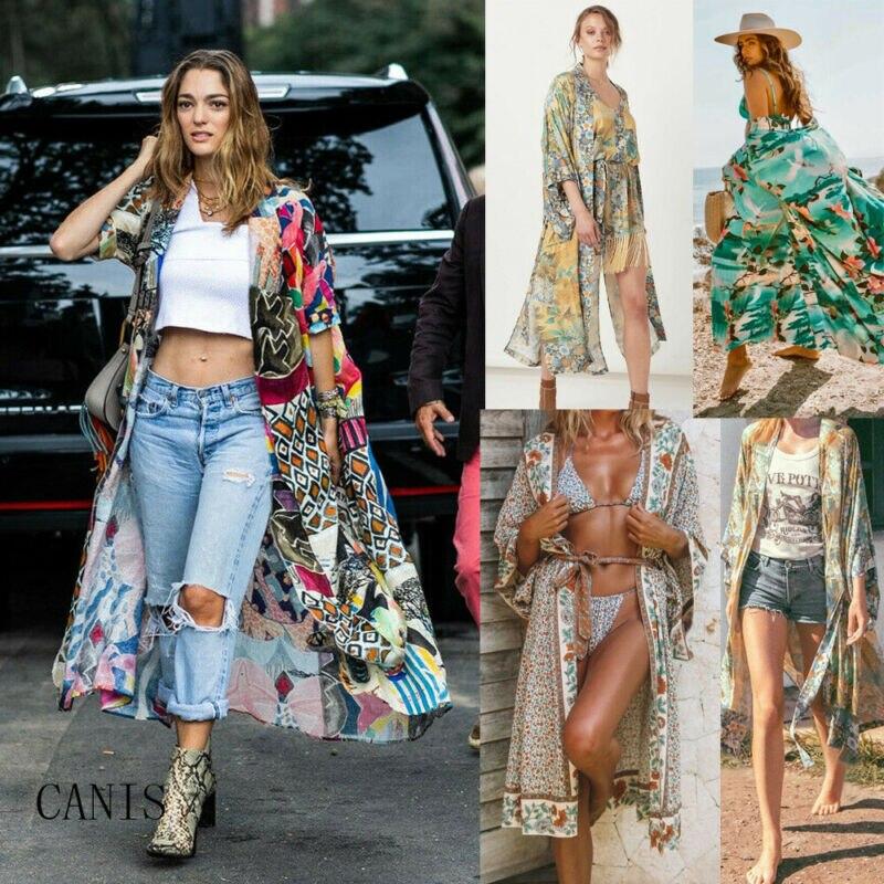 Nuevas mujeres Vintage Floral suelto chal largo Kimono Cardigan chaqueta Boho abrigo camisa mujer playa Bikini cubrir Tops largos