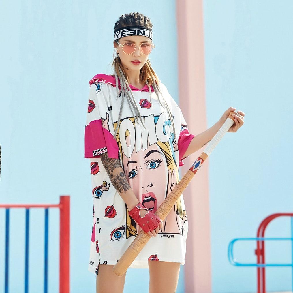 Long T Shirt Dress Oversize Women Harajuku Print Head Letters OMG Hooded Summer 2020 Irregular Pink Tops Short Sleeve Tshirt