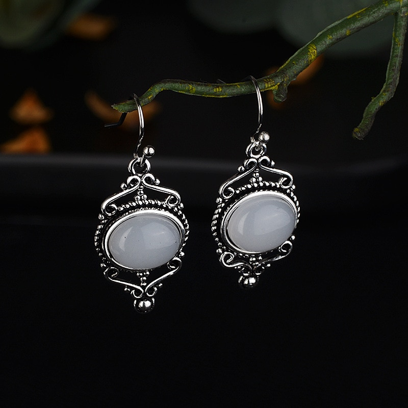Pendientes Vintage tailandeses de plata con piedra lunar para mujer de 925, pendientes estilo Punk Vintage, joyería de regalo